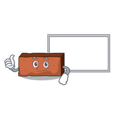 thumbs up with board brick character cartoon style vector image