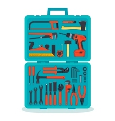 Tools in a tools box vector