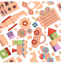 toys pattern vintage wooden attractions for kids vector image
