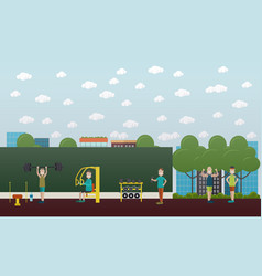 training outdoors concept flat vector image