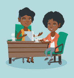 Two african business women at business meeting vector