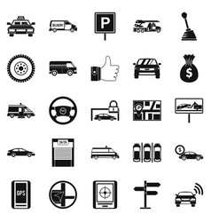 Vehicle icons set simple style vector