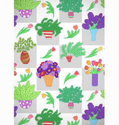 Vertical card with cute cartoon colored plants vector