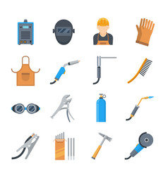 Welding icons in a flat style vector