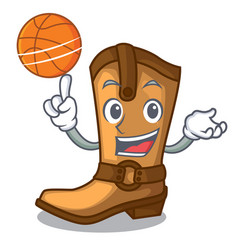 With basketball cowboy boots in the shape cartoon vector