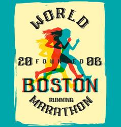 world marathon series retro poster vector image