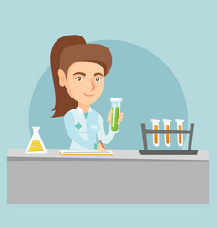 Young caucasian laboratory assistant at work vector
