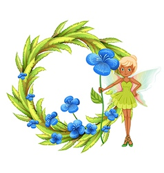 A round leafy border with a fairy holding a blue vector image vector image