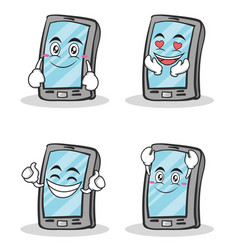 collection of smartphone cartoon character set vector image vector image