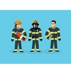 Firefighters Team People Group Flat Style vector image vector image