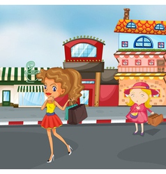 girls on the road vector image vector image