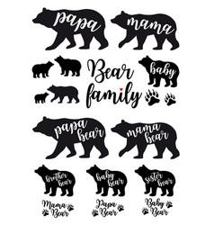 mama bear papa bear baby bear set vector image vector image