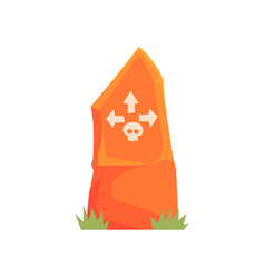 orange tombstone with skull and arrows vector image vector image