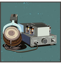 retro headphones and amplifier vector image vector image