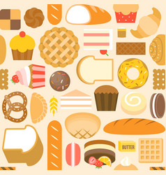 seamless pattern of bakery product vector image vector image