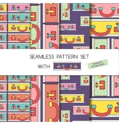 Seamless pattern set of bags and suitcases vector image vector image