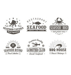 set of vintage seafood barbecuelogo templates vector image vector image