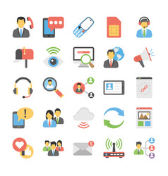 Social connections flat icons vector