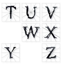 Broken Font t to z vector image vector image