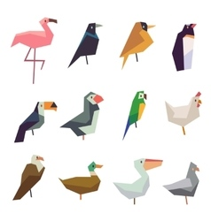 Cute birds flat icons set vector image vector image