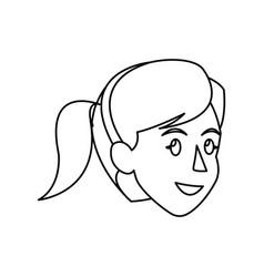 face woman head ponytail diadem outline vector image