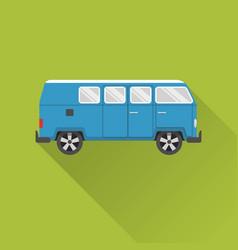 flat style retro minivan car icon vector image vector image