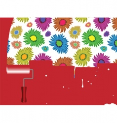 flowers painted on wall vector image vector image