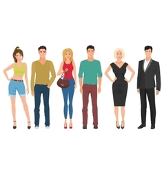 Handsome young guys men with beautiful cute girls vector image vector image