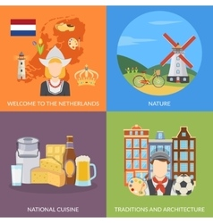 Netherlands 2x2 Flat Icons Set vector image vector image