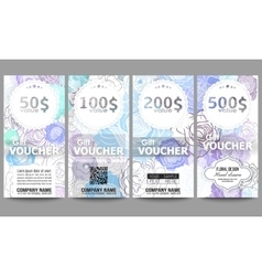 Set of modern gift voucher templates Hand drawn vector image
