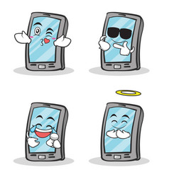 set smartphone cartoon character collection vector image vector image