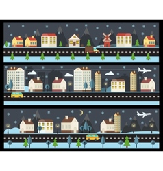 Winter cityscape in flat style vector