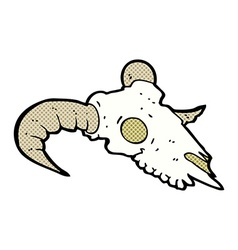 comic cartoon ram skull vector image vector image