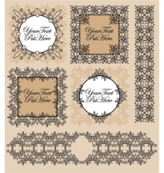 set Victorian frames and border vector image vector image