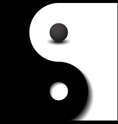 3d sphere black and white yin yang symbol vector image