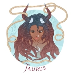 Astrological sign of Taurus as a african girl vector image vector image