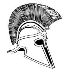 black and white trojan helmet vector image