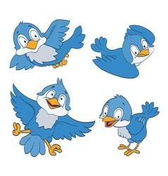 blue birds cartoon vector image