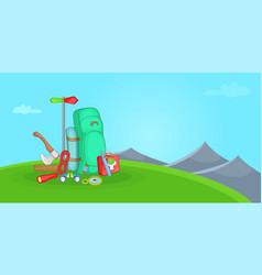 camping horizontal banner hill cartoon style vector image
