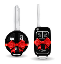 car key in a decorative wrapping red ribbon bow vector image vector image