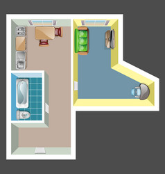 flat rooms interior with furniture top view vector image