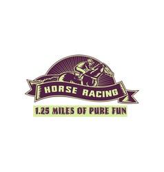 Horse and jockey racing race woodcut vector