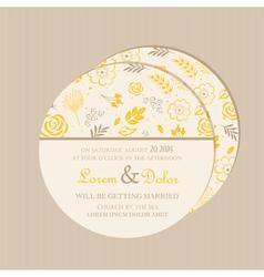 Round wedding invitation card yellow vector