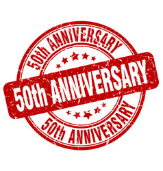 50th anniversary red grunge stamp vector image