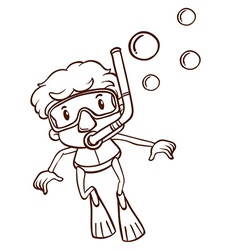 A simple sketch of a man snorkeling vector