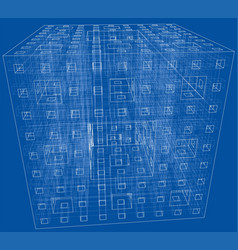 abstract boxes outlined rendering of 3d vector image