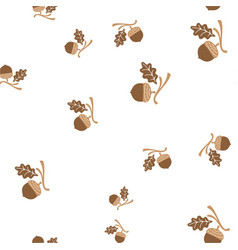 acorn and leaf oak branch seamless pattern vector image