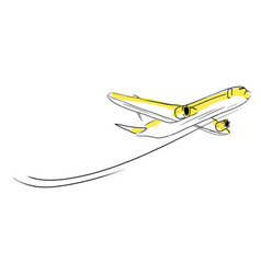 airplane sketch skyward in sky aircraft in vector image