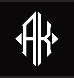 Ak logo monogram with shield shape isolated vector