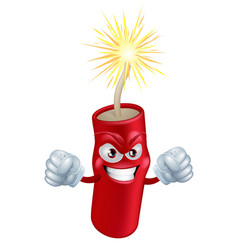 Angry cartoon firecracker vector